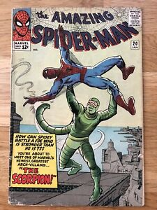 Amazing Spider-Man 20 - Silver Age Key 1st Scorpion, Poor, Restapled, Incomplete