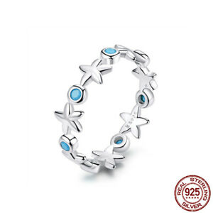 Real S925 Silver Unique Blue Zircon Starfish Band Rings Women Birthday Gifts