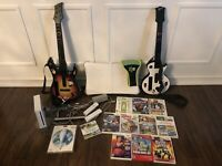 Wii Bundle-Console-Guitars-Wii Board-Nunchuk-Remotes-Waist Band-Stand-11 Games!