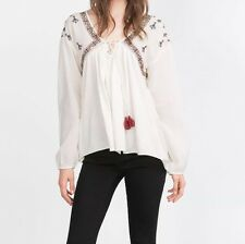 NWT ZARA AW15 WHITE off Flowing Top Shirt Tribal Embroidered Sz S REF. 5598/270