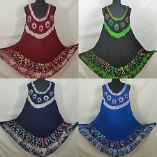 Batik Tunic Beach SunDress Holiday Mirror Work Embroidered 14 16 18 20 22 24 26