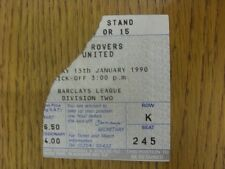 13/01/1990 Ticket: Blackburn Rovers v Leeds United (corner, approx. 1/3 torn off