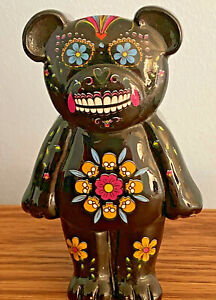"DAY of the DEAD Teddy Bear Trinket Box w/MAGNETIC Lid. Black 4"" NEW World Buyers"