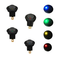4Pcs Car 12V Round Rocker Dot Boat LED Light Toggle Switch SPST ON/OFF Sales