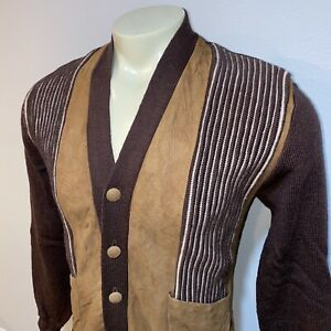 Vtg 50s 60s Towncraft PENNEYS Sweater Mid Century Cardigan Rockabilly MENS LARGE
