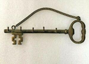 "Vintage Wall Mount Key Holder Brass Skeleton Key 5 Hooks 7.75"" Long"