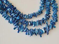 5-6 x 8-15mm Keishi Freshwater Pearl Beads Cornflakes Shape Dark Blue Color #910