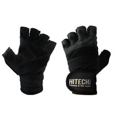 Leather Gym Gloves Weight Lifting Gloves With Wrist Support Wraps Straps Gloves