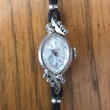 VTG Ladies Winding Hamilton Wrist Watch Marked 14K White Gold 10 Diamonds Read!!