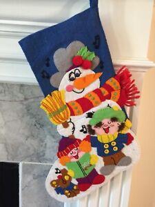 "Vintage Felt Christmas Stocking Frosty The Snowman 17"" Adorable"