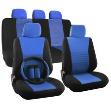 Car Seat Cover 17pc for Steering Wheel/Belt Pads/Heads Rest Blue Full Stripe