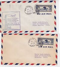 CAM18 W12 New York 7/9/1928 2 Covers (Back: Cedar Rapids IA, Lincoln NB) C10 !!