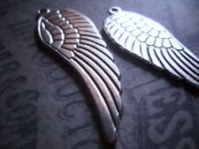 BULK Charms Angel Wing Charms 50mm Antiqued Silver Large Wing Pendants 10 pieces