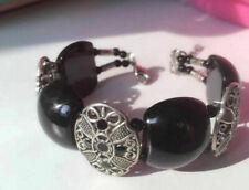 Ladies Bangle Tibetan Silver Plated Bangle Black Onyx Bead Woman Bracelet