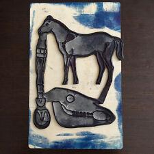 Ancien Tampon Scolaire Anatomie Animale Curiosité Cheval Vintage ink pad Horse