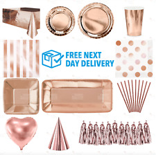 ROSE GOLD Plates Cups Table Cloth Decorations Shiny Disposable Christmas Party