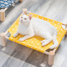 Durable Canvas Cat Bed House Elevated Pet Hammocks Wood Lounge Small Dogs Cats
