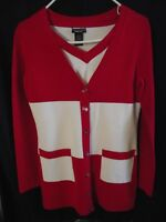 Doncaster collection 2 piece Sweater Set With Pockets Red/White XS Very Nice!