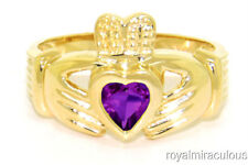 CLADDAGH RING GOLD PLATED SIMULATED AMETHYST LOVE & LUCK - FEBRUARY