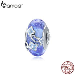 BAMOER Fine S925 Sterling silver Charms Enamel Blue Secret Garden For Bracelets