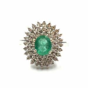 Entourage Ring Gold 585 14kt 0.7ct Smaragd 0.6ct Diamanten 21.0mm 66 X Cocktail