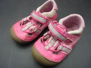 Stride Rite Size 4.5 Baby Girls Pink Leather Athletic Flat Walking Shoes 3F