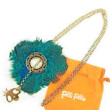 Folli Follie Necklace Pendant Gold Blue Woman Authentic Used L1542