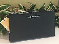 MICHAEL KORS JET SET DOUBLE ZIP WALLET PHONE CASE WRISTLET BLACK LEATHER SILVER