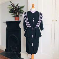 Vintage 80s Black Purple Stripe Cotton Blend Peplum Pencil Dress 14
