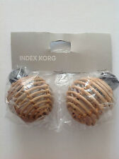 IKEA INDEX KORG CURTAIN RAIL FINIALS WITH METAL 3 INCHES IN DIAMETER