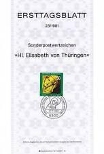BRD 1981: Heilige Elisabeth von Thüringen! Ersttagsblatt der Nr. 1114! 1706