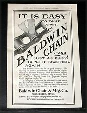 1910 OLD MAGAZINE PRINT AD, BALDWIN CHAIN, EASY TO TAKE APART AND PUT TOGETHER!