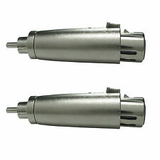 2 XLR 3pin FEMALE to RCA male audio connector adapter