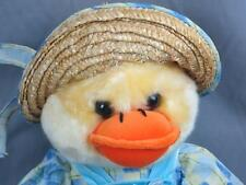 BIG EASTER CHICK CHICKEN IN STRAW HAT BUTTERFLY OVERALLS PLUSH STUFFED ANIMAL