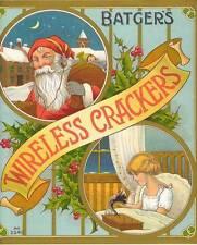 Wireless Cracker short wave radio Santa Claus British Cracker Box label Batgers