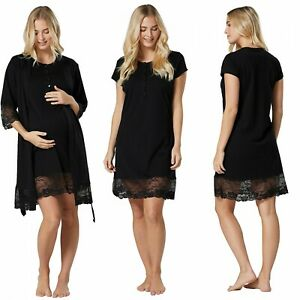 ZETA VILLE Women's Maternity Nursing Nightdress Robe Set Lace Details 1281