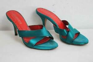 Yves Saint Laurent Rive Gauche Satin Shoes Size UK 5 EU 38 Turquoise Blue Green