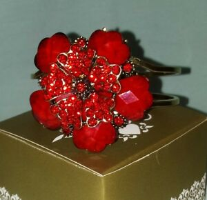 Ladies Bracelet RED Flower with crystals unusual feminine NEW w tag