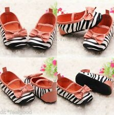 Zebra Coral 1 pair of 6-12 mons,12-18 mons Pre-walker Crib Baby Girls Shoes- New