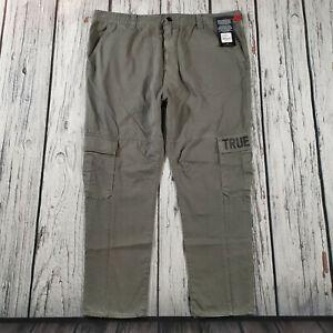 Men's True Religion Jeans 40 Waist 28 Leg Marco Cargo Pant in Grey £169 BNWT
