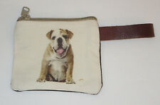 "Bulldog Coin Purse Leather Strap New Zippered 4 1/8"" Long Dogs Pets"
