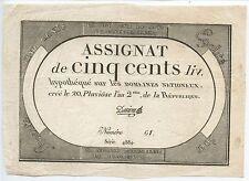 GB627 - Paper Money France Assignat de CINQ CENTS LIV ~1792 Domaines Nationaux