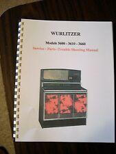 Wurlitzer Model 3600/3610/3660 Jukebox Manual