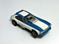 VINTAGE AURORA AFX HO SCALE PINTO FUNNY WHITE/BLUE  W/ Wheelie Bars