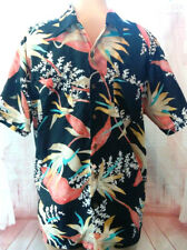 60s 70s Vintage Waikiki Holiday Hawaiian Black Bird of Paradise Orange Men's L