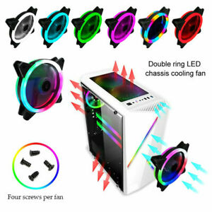 1-4 Pack RGB LED Quiet Computer Case PC Cooling Fan Light for Computer Cooler UK