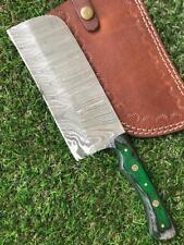 CUSTOM HANDMADE TWIST DAMASCUS STEEL CLEAVER KNIFE M 242