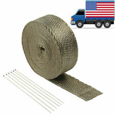 "2"" 50 FT Titanium Basalt Exhaust Header Pipe Manifold Wrap + 6 Stainless Ties"