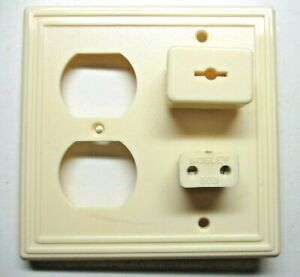 Mosley 2-Gang 1950s Combo Outlet Wall Cover Plate Jacks Plugs Radio TV Phone MCM