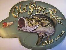 METAL SIGN LIVIN LARGE -Fish Lure Fishing Large Mouth Bass  OLD GUYS RULE